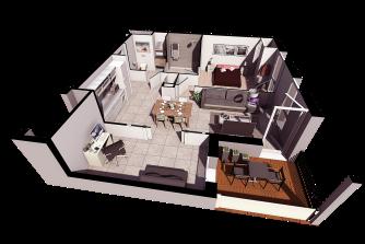 Appartement plan de vente 3d l'image 3d v1