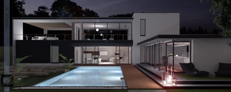 Maison contemporaine l'image 3d nuit