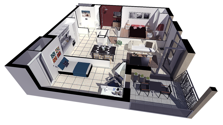 Appartement plan de vente 3d l'image 3d
